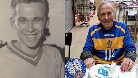 Former Romford Football Club player Barry Coppi celebrates his 80th birthday with past and present m