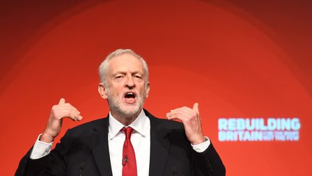 Labour leader Jeremy Corbyn giving his keynote speech at the party's annual conference at the Arena