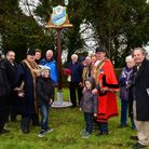 Unveiling of the newly restored Lowestoft Town sign by Mayor Stephen Ardley and deputy Mayor Nick We