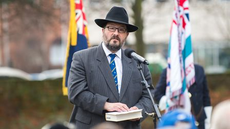 Rabbi Lee Sunderland at the Holocaust Memorial Day. Picture: Mark Sepple