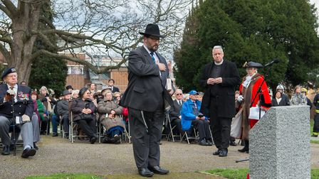 Rabbi Lee Sunderland paying tribute at the Holocaust Memorial Day service held in Romford at the wee