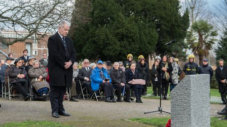 Residents paying tribute at the Holocaust Memorial Day service held in Romford at the weekend. Pictu