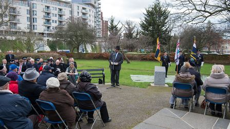 Rabbi Lee Sunderland speaking to crowds at the Holocaust Memorial Day service in Romford at the week