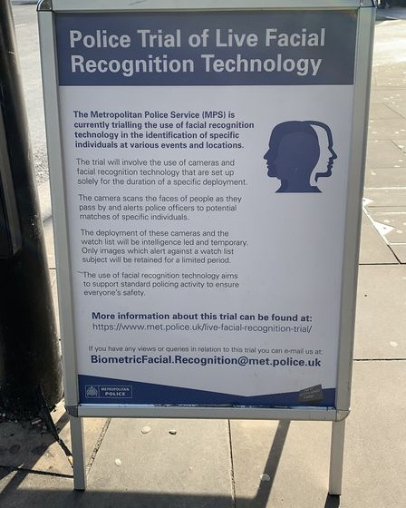 Signs in Romford warning the public about technology being trialled. Photo: Met Police