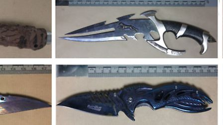 Police seized these deadly knives after the high speed chase ended. Pic: Met Police