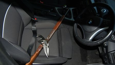 Some of the weapons found inside the car after the police chase. Pic: Met Police