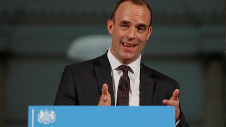 Britain's Secretary of State for Exiting the European Union Dominic Raab delivers his speech outlini