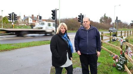 Sarah Otter and Adrian Nowell, who are calling for safety improvements on Tom Crisp Way after four s