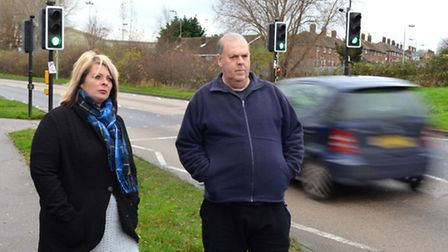 Sarah Otter and Adrian Nowell, on Tom Crisp Way in Lowestoft. Pictures: Mick Howes