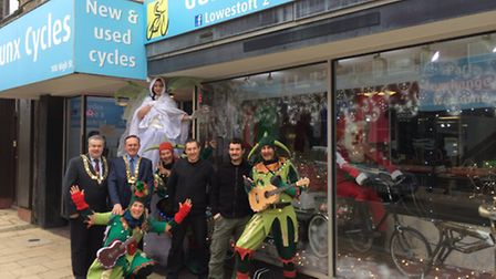 Dunx Cycles wins the best window display during the Elves on the Shelves competition on Small Busine