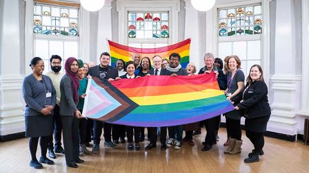 The new gay pride flag was raised at Stratford and East Ham town halls on Friday. Picture: NEWHAM CO