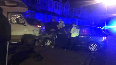 A car crashed into several parked vehicles and the wall of a house in Mawney Road, Romford following