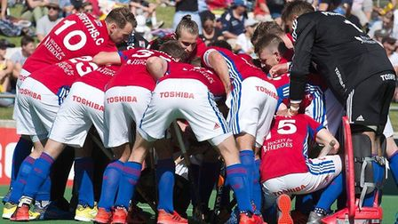 Great Britain's men huddle before play (pic GB Hockey)