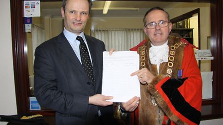 Waveney MP Peter Aldous with town mayor Stephen Ardley-who has signed the third crossing petition.