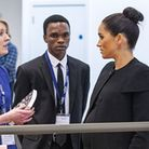 The Duchess of Sussex meeting Dr Aura Lounasmaa. Picture: Jonathan Cole/ACU