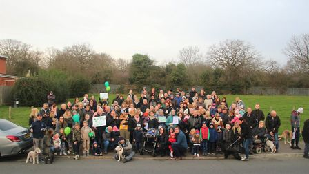 More than 140 residents gathered in Brocket Way Park to protest proposed temporary accomodation deve