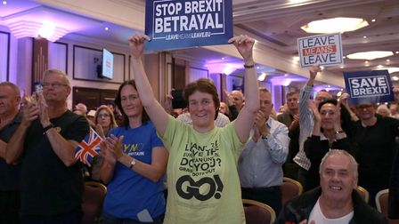 Brexiteers at the Leave Means Leave Rally at the National Conference Centre in Solihull. Photograph:
