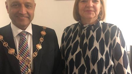 The mayor of Havering, councillor Dilip Patel with the chief executive of Hope4Havering, Kim Merry.