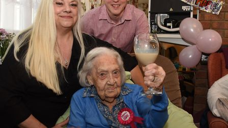Lily White celebrating her 107th birthday at the Clover Cottage Care Home with Jillian Nicoll and Ke