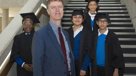 MP Stephen Timms with young graduates. Picture: Geoff Wilson/Birkbeck.