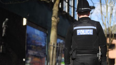 Domestic violence reports increase. A police officer on patrol in Suffolk.