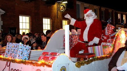 Father Christmas arrives for the Southwold Christmas lights switch-on event 2015. Pictures: MICK HOW