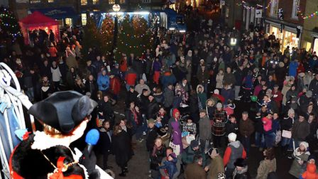 The crowds gather as town mayor Melanie Tucker speaks at the Southwold Christmas lights switch-on ev