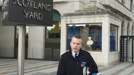 Deputy Assistant Commissioner Graham McNulty making the statement outside New Scotland Yard on March