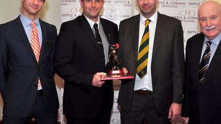 Leading wicket takers Marcus Bishop and Simon Key with (left), Matthew Conway from Dipple and Conway