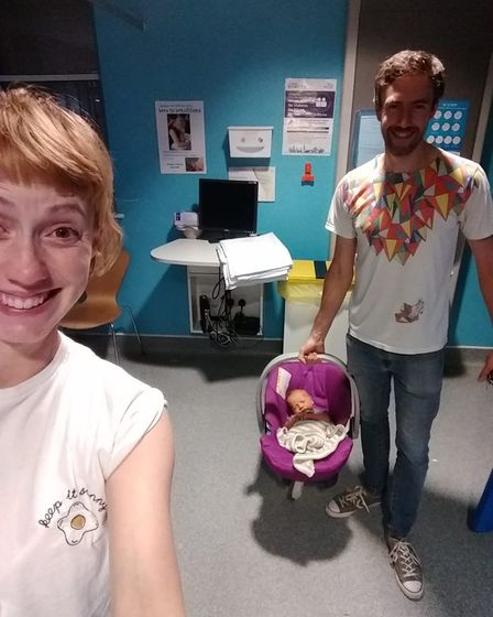 Karis, her husband Andy and newborn Percy ready to leave the hospital. They have a five-year-old at