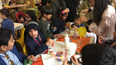 Children and adults at a science club helped to start by Maslaha. Picture: Heiba Lamara.