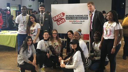 East Ham MP Stephen Timms with Newham Sixth Form College students at Life not Knife. Picture: Luke A