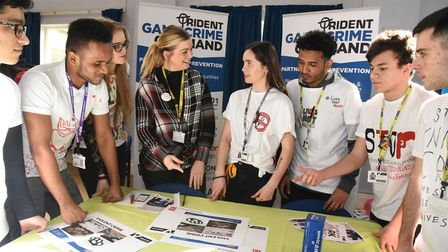 PC Day from the Trident partnership talking to students. Picture: Ken Mears