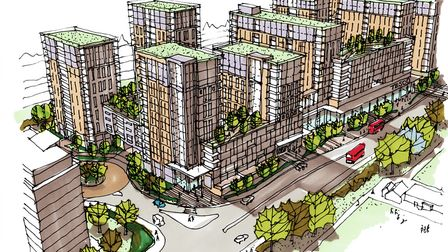 A mock-up of how the development on the site of Goodmayes Tesco could look. Photo: Weston Homes