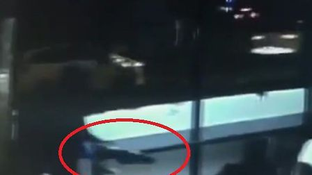 The CCTV footage shows the terrified victims cowering before they are shot.