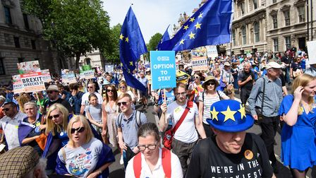 A People's Vote demonstration taking place in central London. Photograph: Matt Crossick/EMPICS Enter