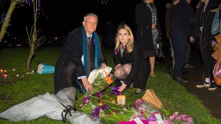 MPs Andrew Rosindell and Julia Lopez laying flowers following the vigil. Photo: Mark Sepple