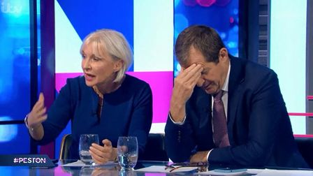 Nadine Dorries and Alastair Campbell debate the Irish border issue on Peston's new show (Image: ITV)