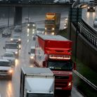 Traffic in rain on the A406 in South Woodford