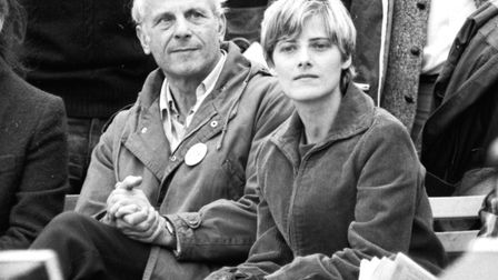 Petra Kelly with Gert Bastian at a peace rally in Bonn, 1981. Picture: Klaus Rose\ullstein bild via