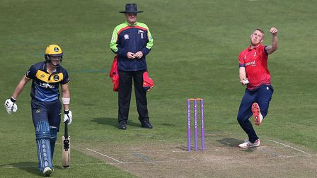 Jamie Porter in bowling action for Essex during Glamorgan vs Essex Eagles, Royal London One-Day Cup