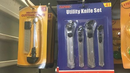 Small blades and knives on sale at Pound Town in Harold Hill.