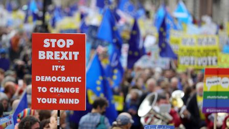 Anti-Brexit campaigners take part in the People's Vote March. Photo: Aaron Chown/PA Wire
