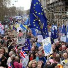 Anti-Brexit campaigners take part in the People's Vote March in London. Photo. Picture date: Saturda