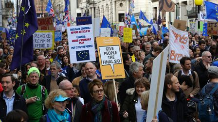 Anti-Brexit campaigners take part in the People's Vote March in London. Photo: Aaron Chown/PA Wire