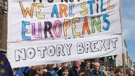 """""""We're still Europeans!"""" One of the many mass People's marches to stop Brexit. Picture: Mike Brooke"""