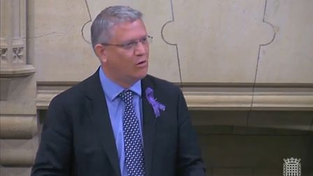 Mr Rosindell wore a purple ribbon in memory of Jodie Chesney who was stabbed in Harold Hill. Photo: