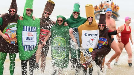 The annual Lowestoft Christmas Day seaside swim.December 2015.Picture: James Bass