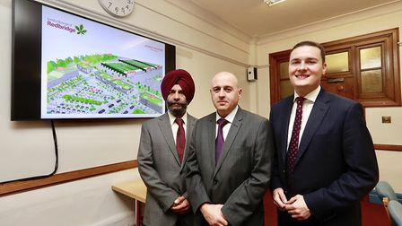 Cllr Jas Athwal, AM Keith Prince and MP Wes Streeting at the unveiling of the plans for Redbridge. P