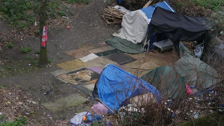 A homeless camp in Ilford Hill has burgeoned amid confusion over which council should lead to respon